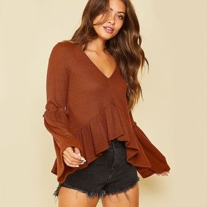 Caramel Solid Waffle Knit Top Ruffle Bell Sleeve